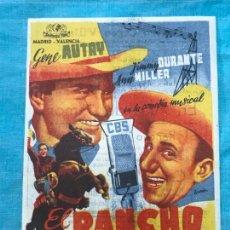 Cine: PROGRAMA DE CINE .- EL RANCHO DE LA MUSICA .- CON PUBLICIDAD. Lote 158835870
