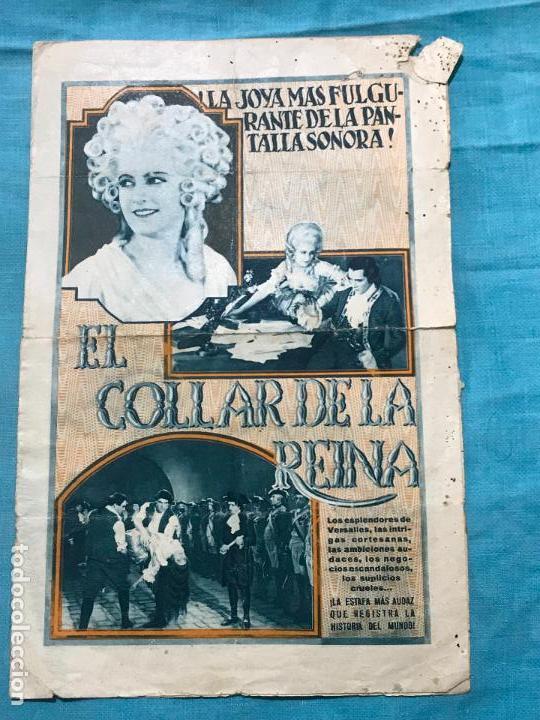 EL COLLAR DE LA REINA PROGRAMA DOBLE CON PUBLICIDAD (Cine - Folletos de Mano - Aventura)
