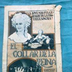 Cine: EL COLLAR DE LA REINA PROGRAMA DOBLE CON PUBLICIDAD . Lote 158846414