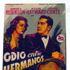 Cine: ALICANTE CINE AVENIDA PROGRAMA PELÍCULA ODIO ENTRE HERMANOS 1950 EDWARD ROBINSON SUSAN HAYWARD. Lote 158990474