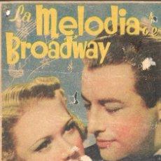 Cine: PROGRAMA DE CINE - LA MELODÍA DE BROADWAY - ROBERT TAYLOR, ELEANOR POWELL - MGM - 1938 - S/P.. Lote 159039314