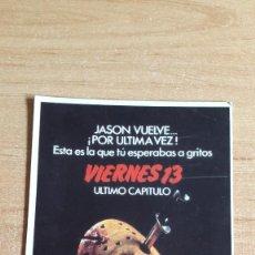 Cine: POSTAL CINE TERROR - VIERNES 13 - ULTIMO CAPITULO - JASON VUELVE ¡POR ULTIMA VEZ! -- VER FOTO ADICIO. Lote 159044790