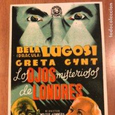 Cine: PROGRAMA LOS OJOS MISTERIOSOS DE LONDRES.BELA LUGOSI.TERROR. Lote 173738672