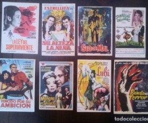 Lote de 9 folletos de mano de películas.La ley del superviviente, Lulú, Sonrisas y lágrimas, etc