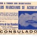 Cine: FOLLETO LOCAL LA GUERRA DE LOS MUNDOS. CINE CONSULADO, BILBAO. BIZKAIA. Lote 159230241