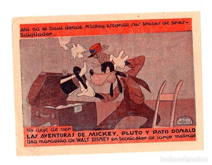 FOLLETO LOCAL DIBUJOS WALT DISNEY. LAS AVENTURAS DE MICKEY, PLUTO Y PATO DONALD. AÑOS 50 (Cine - Folletos de Mano - Infantil)