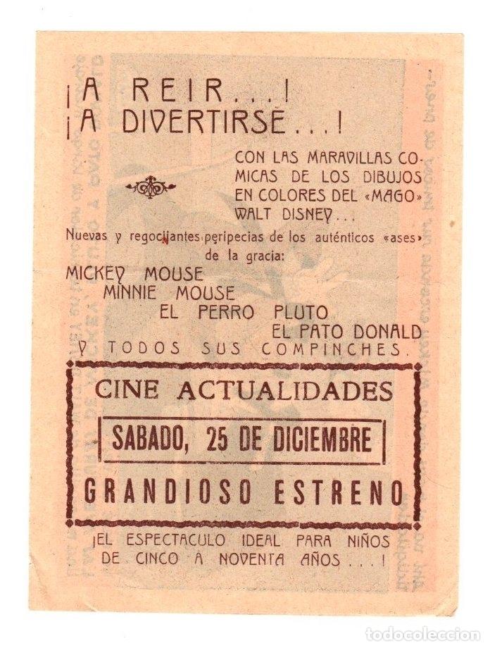 Cine: FOLLETO LOCAL DIBUJOS WALT DISNEY. LAS AVENTURAS DE MICKEY, PLUTO Y PATO DONALD. AÑOS 50 - Foto 2 - 159355988