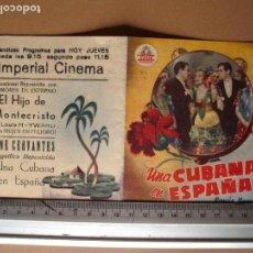 Cine: UNA CUBANA EN ESPAÑA AÑO 1951. C/P. Lote 159361654
