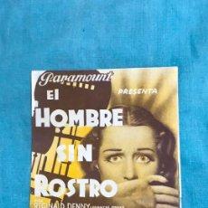 Cine: EL HOMBRE SIN ROSTRO PROGRAMA DOBLE PARAMOUNT SIN PUBLICIDAD. Lote 159545898