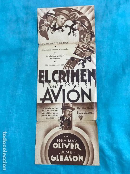 EL CRIMEN DEL AVION PROGRAMA DOBLE RADIO EDNA MAY GLEASON JAMES GLEASON (Cine - Folletos de Mano - Suspense)