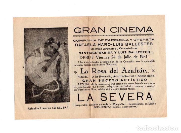 PROGRAMA LA ROSA DEL AZAFRÁN. GRAN CINEMA. COMPAÑÍA DE ZARZUELA Y OPERETA. 1931 (Cine - Folletos de Mano - Musicales)