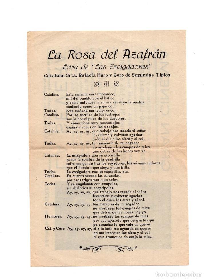 Cine: PROGRAMA LA ROSA DEL AZAFRÁN. GRAN CINEMA. COMPAÑÍA DE ZARZUELA Y OPERETA. 1931 - Foto 2 - 160045930