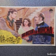 Flyers Publicitaires de films Anciens: PROGRAMA CINE UNA NACIÓN EN MARCHA - FRANCES DEE - JOEL MACCREA - LLOYD NOLAN. Lote 160140309