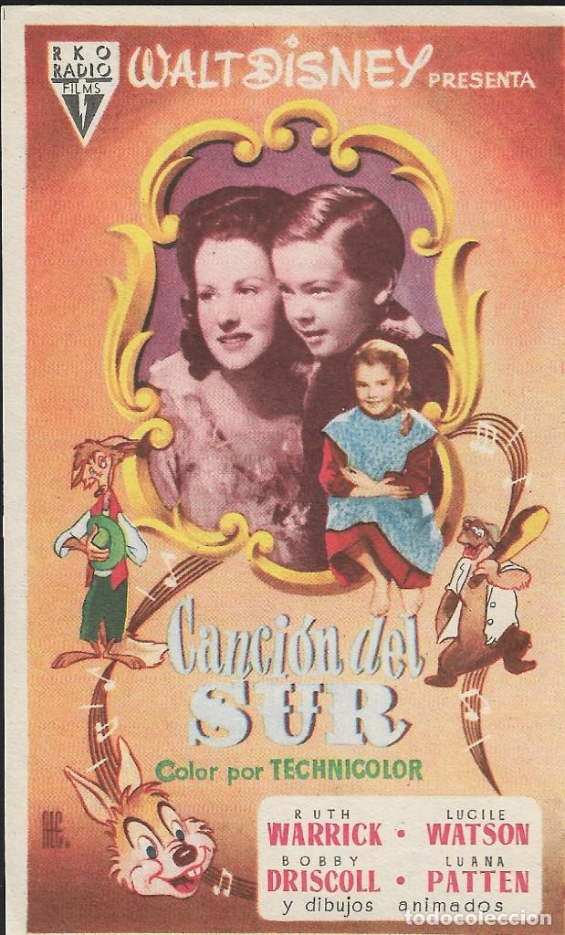 PROGRAMA DE CINE - WALT DISNEY - CANCIÓN DEL SUR - RKO RADIO FILMS - 1946 - SIN PUBLICIDAD. (Cine - Folletos de Mano - Infantil)