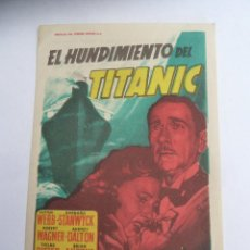 Cine: EL HUNDIMIENTO DEL TITANIC SOLIGO FOLLETO DE MANO ORIGINAL CON CINE IMPRESO PERFECTO ESTADO. Lote 160172050