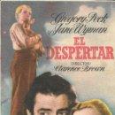 Cine: PROGRAMA DE CINE - EL DESPERTAR - GREGORY PECK, JANE WYMAN - MGM - 1946 - SIN PUBLICIDAD.. Lote 160221434