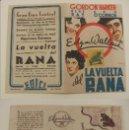 Cine: PROGRAMA DE CINE DOBLE LA VUELTA DEL RANA PUBLICIDAD CINE CENTRAL 1945 ORIGINAL. Lote 160226294