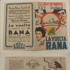 Cinema - PROGRAMA DE CINE DOBLE LA VUELTA DEL RANA PUBLICIDAD CINE CENTRAL 1945 ORIGINAL - 160226294