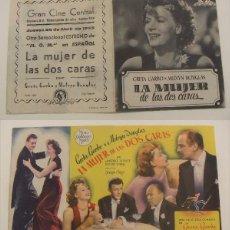 Cine: PROGRAMA DE CINE DOBLE LA MUJER DE LAS DOS CARAS PUBLICIDAD CINE CENTRAL 1945 ORIGINAL. Lote 160232302