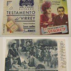 Cine: PROGRAMA DE CINE DOBLE EL TESTAMENTO DEL VIRREY PUBLICIDAD PALACIO AVENIDA ORIGINAL. Lote 160233286