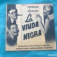 Cine: LA VIUDA NEGRA , WHEELER Y WOOLSEY, PROGRAMA DOBLE CON PUBLICIDAD. Lote 160233482