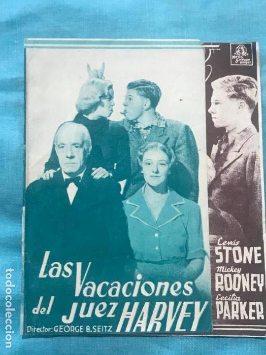 LAS VACACIONES DEL JUEZ HARVEY - PROGRAMA DE MANO DOBLE - AÑO 1937 SIN PUBLICIDAD (Cine - Folletos de Mano - Comedia)