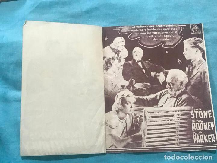 Cine: LAS VACACIONES DEL JUEZ HARVEY - PROGRAMA DE MANO DOBLE - AÑO 1937 SIN PUBLICIDAD - Foto 3 - 160241010