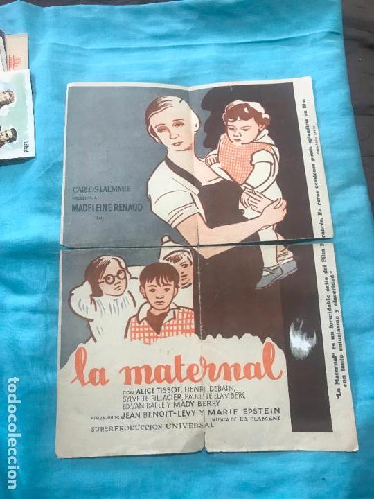LA MATERNAL FOLLETO DE MANO TAMAÑO GRANDE - AÑO 1933 (Cine - Folletos de Mano - Comedia)