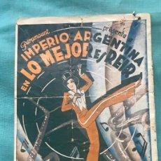 Cine: LO MEJOR ES REIR IMPERIO ARGENTINA FOLLETO DE MANO ORIGINAL ESTRENO CON CINE IMPRESO . Lote 160250158