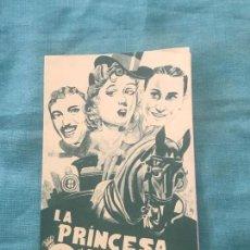 Cine: PROGRAMA DE MANO DOBLE LA PRINCESA O'HARA AÑO 1939 SIN PUBLICIDAD. Lote 160268726