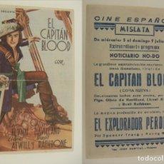 Cine: PROGRAMA DE CINE EL CAPITAN BLOOD PUBLICIDAD CINE CINE ESPAÑOL MISLATA 1944 ORIGINAL. Lote 160273518