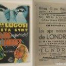 Cine: PROGRAMA DE CINE LOS OJOS MISTERIOSOS DE LONDRES PUBLICIDAD GRAN CINE CENTRAL 1943 ORIGINAL. Lote 160276554