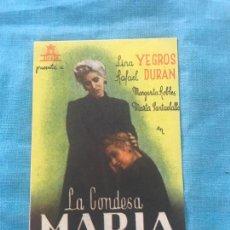 Cine: PROGRAMA CINE - PELICULA - LA CONDESA MARIA.. Lote 160276666