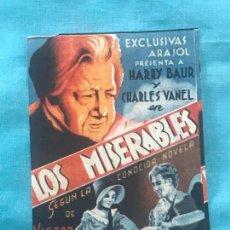 Cine: FOLLETO DE CINE LOS MISERABL CON PUBLICIDAD. Lote 160276926