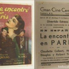 Folhetos de mão de filmes antigos de cinema: PROGRAMA DE CINE LA ENCONTRE EN PARIS PUBLICIDAD GRAN CINE CENTRAL 1943 ORIGINAL. Lote 160277678