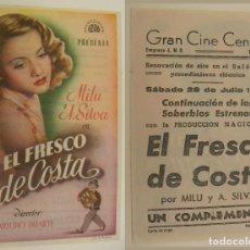 Cine: PROGRAMA DE CINE EL FRESCO DE COSTA PUBLICIDAD GRAN CINE CENTRAL 1945 ORIGINAL. Lote 160277934