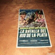 Cine: PROGRAMA CINE.LA BATALLA DEL RÍO DE LA PLATA. PUBLICIDAD CINE CERVANTES DE VILLENA (ALICANTE).1958. Lote 160308434