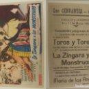 Cine: PROGRAMA DE CINE LA ZINGARA Y LOS MONSTRUOS PUBLICIDAD CINE CERVANTES OLLERIA 1951 ORIGINAL. Lote 160343966