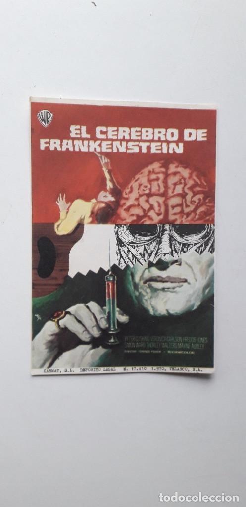 EL CEREBRO DE FRANKENSTEIN - PROGRAMA SENCILLO SIN PUBLICIDAD (Cine - Folletos de Mano - Terror)