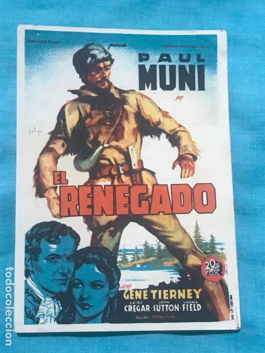 EL RENEGADO. SOLIGÓ. SENCILLO DE 20TH CENTURY FOX.CON CINE (Cine - Folletos de Mano - Bélicas)