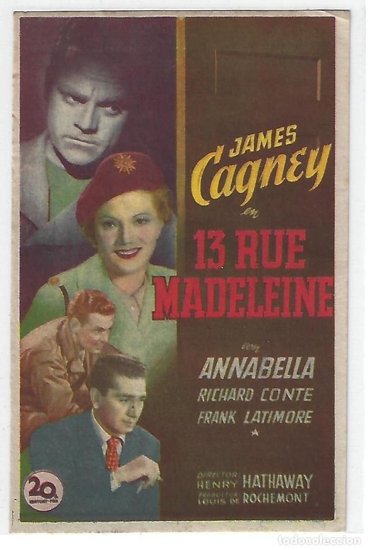 13 RUE MADELEINE - PROGRAMA DE CINE BADALONA C/P (Cine - Folletos de Mano - Musicales)