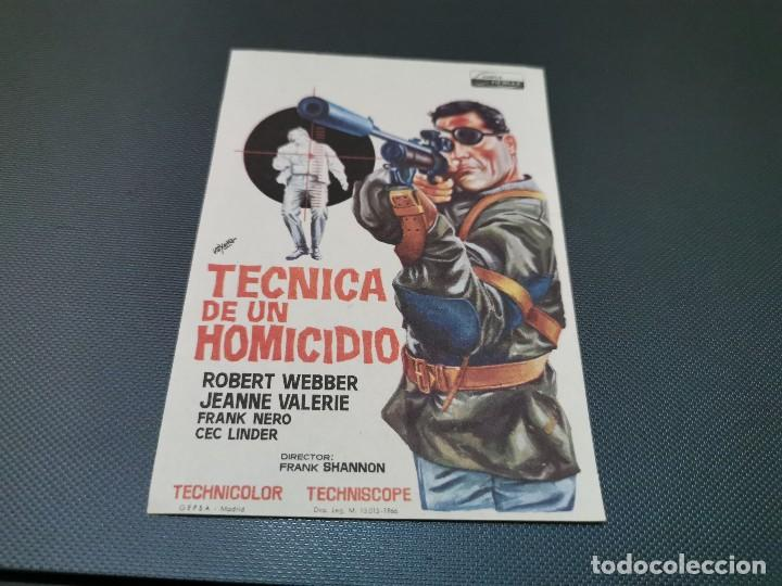 PROGRAMA DE MANO ORIG - TECNICA DE UN HOMICIDIO - CINE BAHIA (Cine - Folletos de Mano - Acción)
