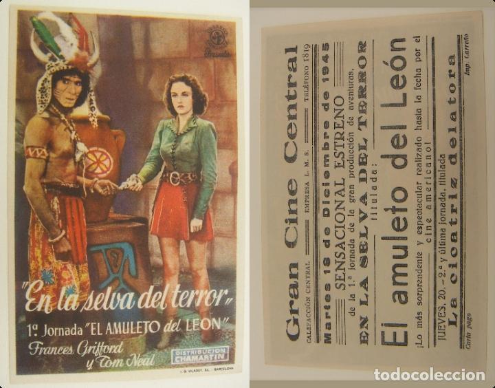 PROGRAMA DE CINE EN LA SELVA DEL TERROR PUBLICIDAD GRAN CINE DEL MODERNO 1945 ORIGINAL (Cine - Folletos de Mano - Suspense)