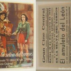 Kino - PROGRAMA DE CINE EN LA SELVA DEL TERROR PUBLICIDAD GRAN CINE DEL MODERNO 1945 ORIGINAL - 160597378