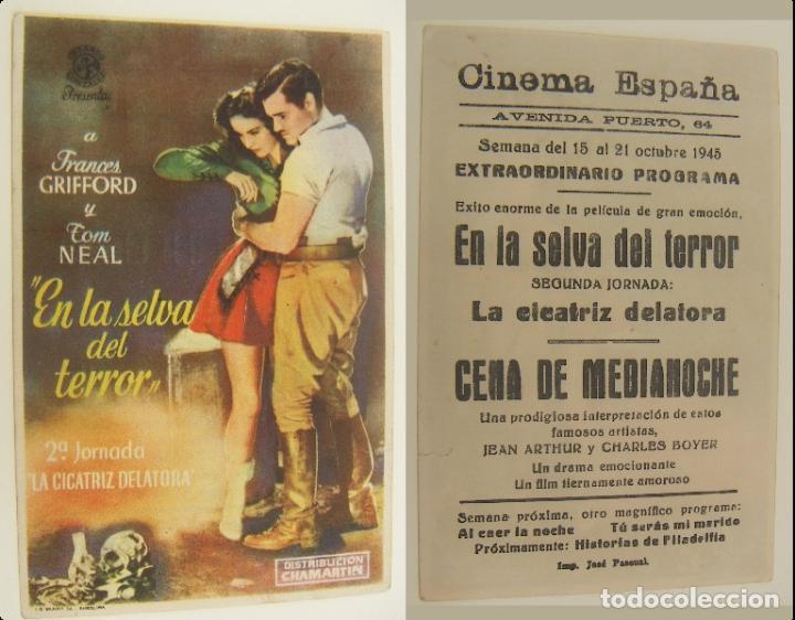 PROGRAMA DE CINE EN LA SELVA DEL TERROR PUBLICIDAD CINEMA ESPAÑA 1945 ORIGINAL (Cine - Folletos de Mano - Suspense)
