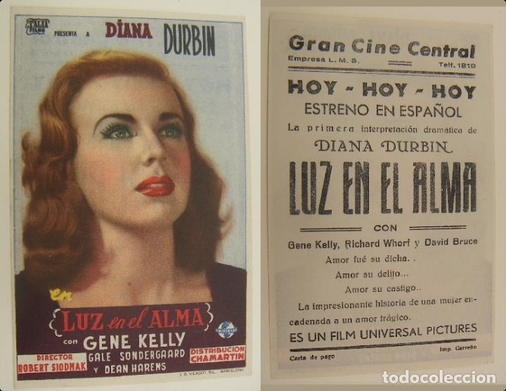 PROGRAMA DE CINE LUZ EN EL ALMA PUBLICIDAD GRAN CINE CENTRAL ORIGINAL (Cine - Folletos de Mano - Musicales)