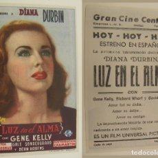 Cinema - PROGRAMA DE CINE LUZ EN EL ALMA PUBLICIDAD GRAN CINE CENTRAL ORIGINAL - 160598102