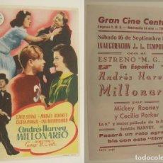 Cine: PROGRAMA DE CINE ANDRES HARVEY MILLONARIO PUBLICIDAD GRAN CINE CENTRAL 1944 ORIGINAL. Lote 160604278