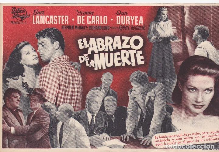 EL ABRAZO DE LA MUERTE - MUY GRANDE - SIN PUBLICIDAD (Cine - Folletos de Mano - Acción)