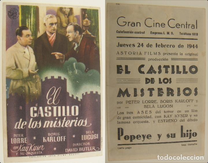 PROGRAMA DE CINE EL CASTILLO DE LOS MISTERIOS PUBLICIDAD GRAN CINE CENTRAL 1944 ORIGINAL (Cine - Folletos de Mano - Suspense)